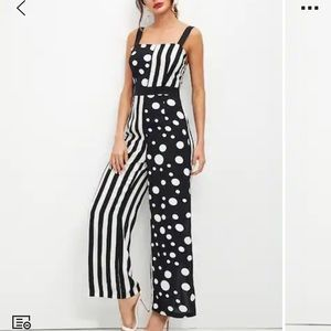 Polka dot, & stripped jumpsuit